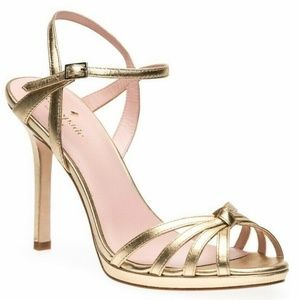 Kate Spade Florence Gold Leather Sandals Heels
